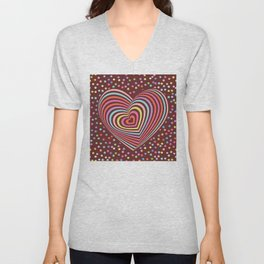 multi-colored rainbow heart on dark brown background. 3D Unisex V-Neck