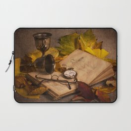 Memories in Autumn - old book glasses and watch still life Laptop Sleeve