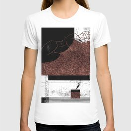 Pink Glitter Nude One Line T-shirt