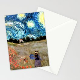 Monet's Poppies with Van Gogh's Starry Night Sky Stationery Cards