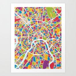 Moscow City Street Map Art Print
