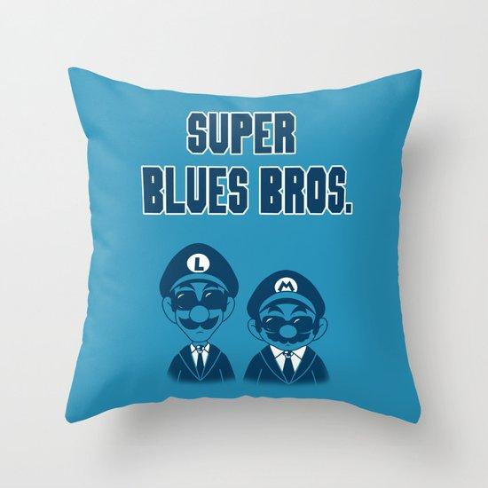 Super Blues Bros. Throw Pillow