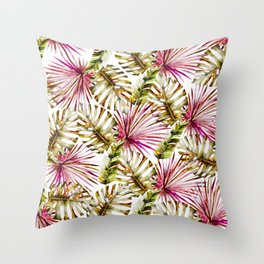 Modern tropical hot pink green watercolor palm tree Throw Pillow
