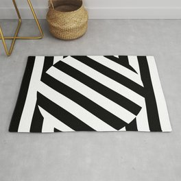 The Turning Point - Abstract Minimalism Art (3) Black & White Rug
