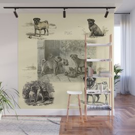 PUG DOGS Illustration Wall Mural