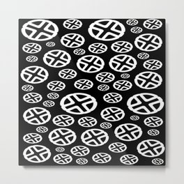 Scattered Circles - Black and White Pattern of Circles and Crosses Metal Print