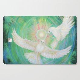 Doves, healing, green energy Cutting Board