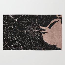 Black on Rosegold Dublin Street Map Rug