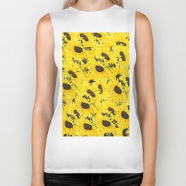 sunflower pattern 2018 1 Biker Tank