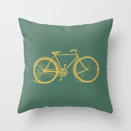 Gold Bicycle on Turquoise Throw Pillow