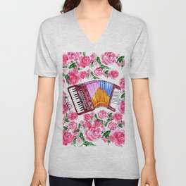 Accordion with pink roses Unisex V-Neck