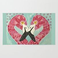 flamingos Area & Throw Rugs featuring Flamingos  by ArtLovePassion