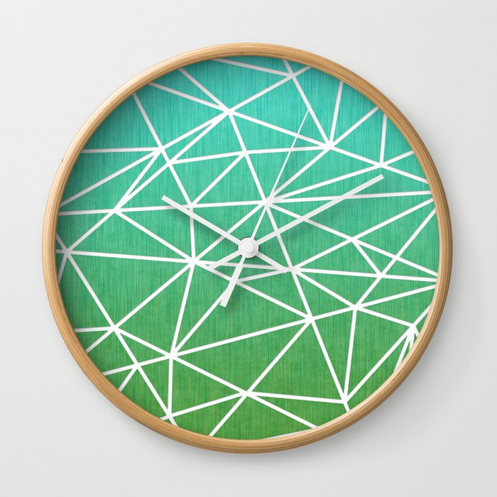 Abstract geometric | green & turquoise Wall Clock