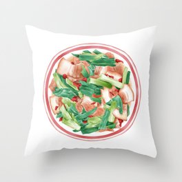 Double Cooked Pork Slices | 回锅肉 Throw Pillow