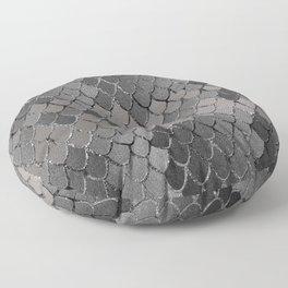 Mermaid Scales Silver Gray Glam #1 #shiny #decor #art #society6 Floor Pillow