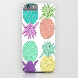 pineapple tropical colors white background iPhone Case