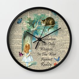Alice In Wonderland Quote - Imagination - Dictionary Page Wall Clock