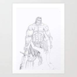 The weary warrior Art Print