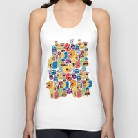 monster Tank Tops featuring Monster Faces Pattern by Chris Piascik