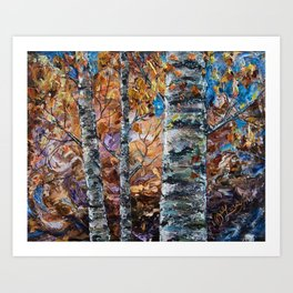 Birch Trees with Palette Knife by OLena Art for @society6 Art Print
