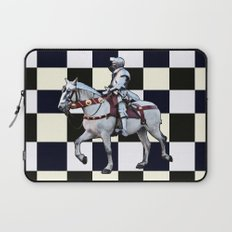 Knight on white horse with Chess board Laptop Sleeve