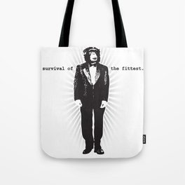 Survival of the Fittest (Monkey in Tuxedo) Tote Bag