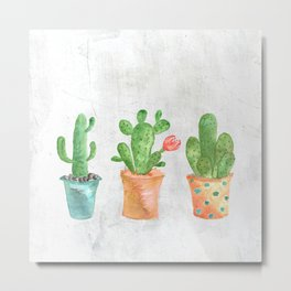Three Green Cacti Watercolor White Metal Print