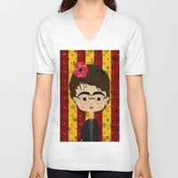 potter V-neck T-shirts featuring Frida Potter by Camila Oliveira