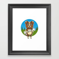 Dog & Bone Framed Art Print