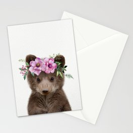 Baby Bear Cub with Flower Crown Stationery Cards