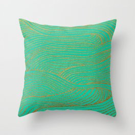 Wind Gold Turquoise Throw Pillow