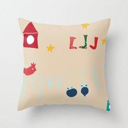 Holiday bird beige Throw Pillow