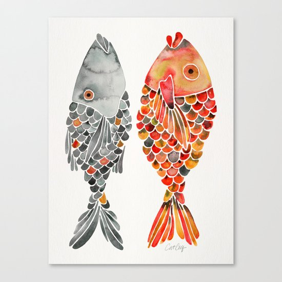 Indonesian Fish Duo – Grey & Orange Palette Canvas Print