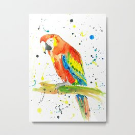Parrot (Scarlet Macaw) - Watercolor Painting Print Metal Print