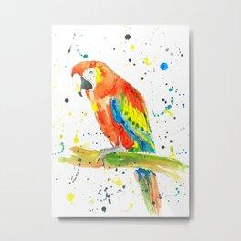Parrot (Scarlet Macaw) - Watercolor Painting Print Metal Print