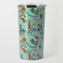 animales fondo verde Travel Mug
