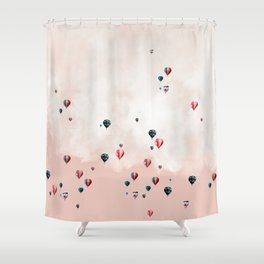 Hotair balloons with sweet cotton candy Shower Curtain