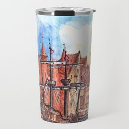 Gdansk watercolor illustration Travel Mug