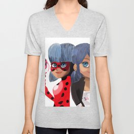 Miraculous Ladybug- Marinette\Ladybug and Tikki Unisex V-Neck