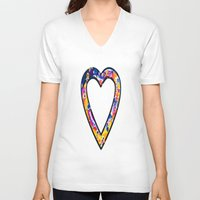 grafitti V-neck T-shirts featuring Heart in bright sunny colours by NatalieCatLee