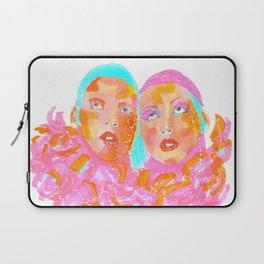 Pink Ladies blue hair pink boa gemini twins Laptop Sleeve