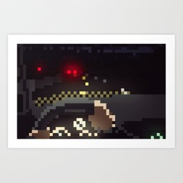 Night Drive Pixels Art Print