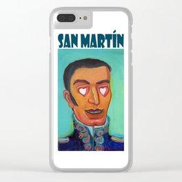 San Martín y corazones. Clear iPhone Case