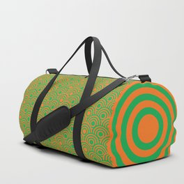 op art pattern retro circles in green and orange Duffle Bag