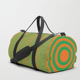 op art pattern retro circles in green and orange Duffle Bag