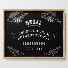 Ouija Board White on Black Serving Tray