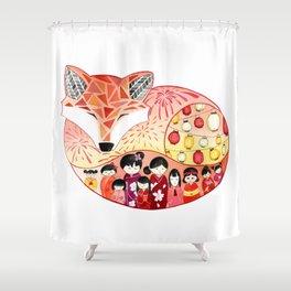 Japanese Summer Fox Shower Curtain