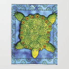Patterned Turtle Poster