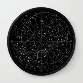 Constellation Map - Black & White Wall Clock