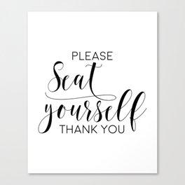 Please Seat Yourself, Bathroom Sign, Printable Art, Bathroom Wall Decor, Art, Funny Bathroom Art Canvas Print